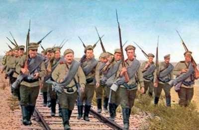 Marsz żołnierzy rosyjskich w Galicji