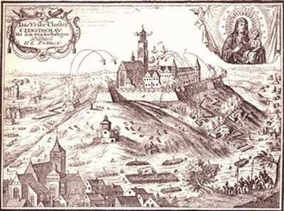 Oblężenie Częstochowy przez Szwedów, miedzioryt niemiecki