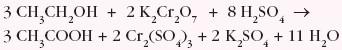 utlenianie I-rzędowych alkoholi w obecności silnego utleniacza, np. K2Cr2O7