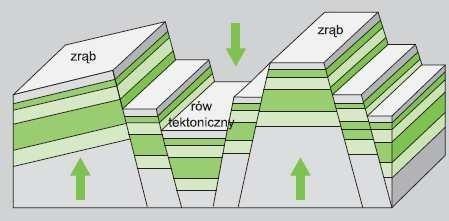 Przekrój przez rów tektoniczny.