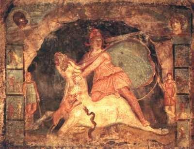 Malowidło ścienne przedstawiające boga Mitrę