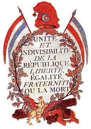 """godło Republiki oraz jej dewiza: """"Wolność, Równość, Braterstwo albo śmierć"""""""