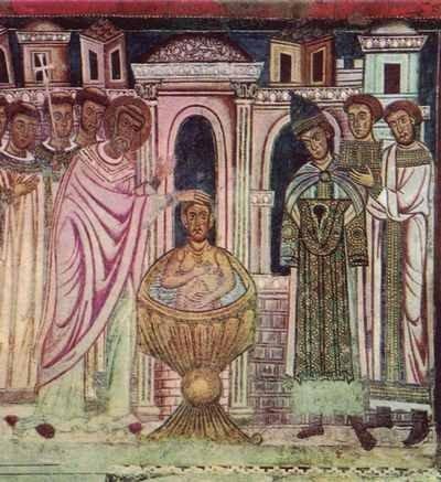 Fresk przedstawiający chrzest cesarza Konstantyna