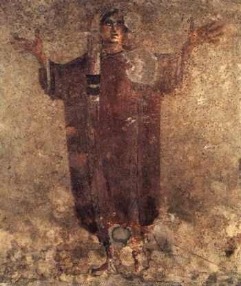 Chrześcijanka – fresk z rzymskich katakumb Priscilli