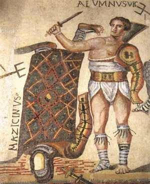 Mozaika przedstawiająca walczących gladiatorów