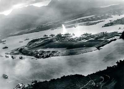 Widok z myśliwca japońskiego na Pearl Harbor