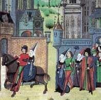 Ilustracja do Dekameronu Boccaccia, średniowieczna  miniatura francuska nieznanego autora.