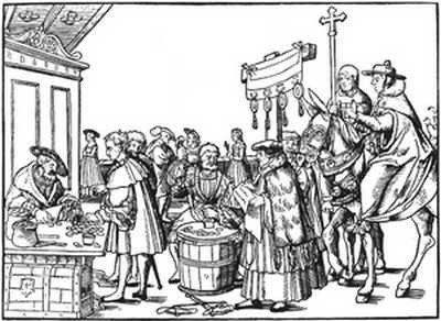Handel odpustami w Niemczech – sztych z epoki