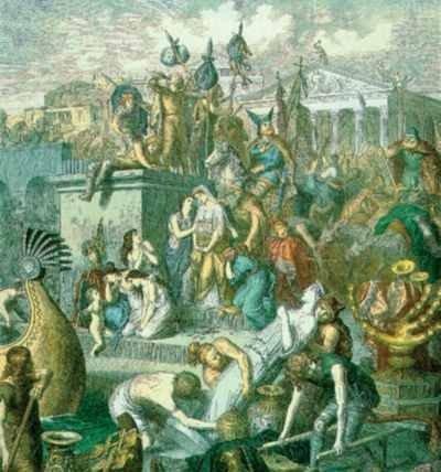 Fresk przedstawiający złupienie Rzymu przez Wandalów