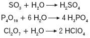 Reakcja tlenków kwasowych z wodą
