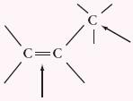 Miejsca reaktywne w cząstce alkenu
