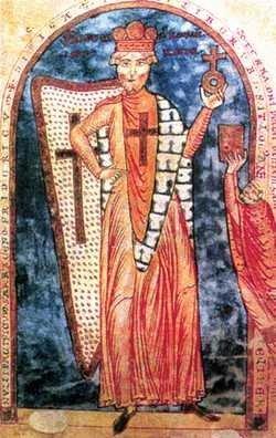 Miniatura przedstawiająca cesarza Fryderyka I Barbarossę