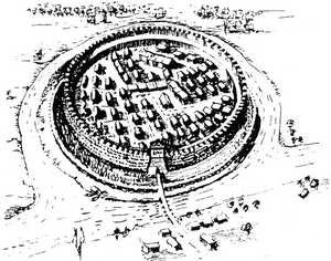 Rysunek ufortyfikowanej osady słowiańskiej z okresu wczesnego średniowiecza