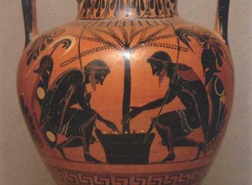 Ajaks i Achilles grający w kości, waza z IV wieku p.n.e.