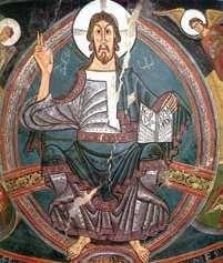 Chrystus Pantokrator, fresk z kościoła San Clemente w  Tahull.