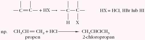 Przyłączanie halogenowodoru HX