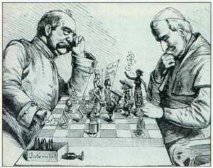 Bismarck i papież Pius IX – karykatura z 1875 roku