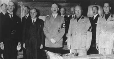 Uczestnicy konferencji w Monachium: Neville Chamberlain, Édouard Daladier, Adolf Hitler, Benito Mussolini