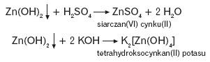 Reakcja wodorotlenku cynku z kwasami i zasadami