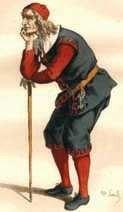 XIX-wieczny kostium francuski do inscenizacji Skąpca  Moliera.