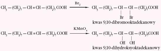 Reakcje z wodą bromową i manganianem potasu