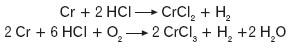 Reakcja chromu z kwasem solnym i siarkowym
