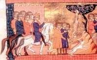 Średniowieczna miniatura przedstawiająca Edypa.