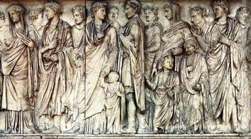 Procesja patrycjuszy rzymskich, dekoracja ołtarza Ara Pacis