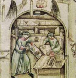 Miniatura przedstawiająca manufakturę papierniczą
