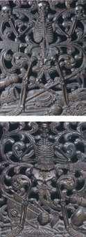 Motywy vanitatywne dekorujące barokową kratę u wejścia do kaplicy  Wazów na Wawelu.