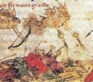 Miniatura przedstawiająca średniowieczne wyobrażenie epidemii  dżumy.