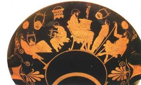 Naczynie z V wieku p.n.e. przedstawiające zajęcia w szkole