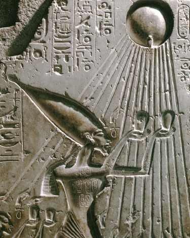 Echnaton składa hołd Atonowi, dekoracja z pałacu Tell el-Amarna